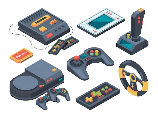 Console de videogame e diferentes aparelhos técnicos