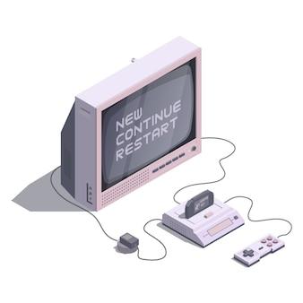 Console retro isométrico com tv