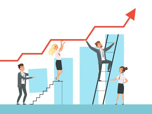 Consolidação de equipe. gerentes de negócios crescem escadas para seus personagens conceito mentor líder