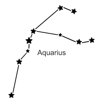 Constelação do signo de aquário em fundo branco, ilustração vetorial