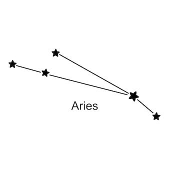 Constelação do signo do zodíaco áries em fundo branco, ilustração vetorial