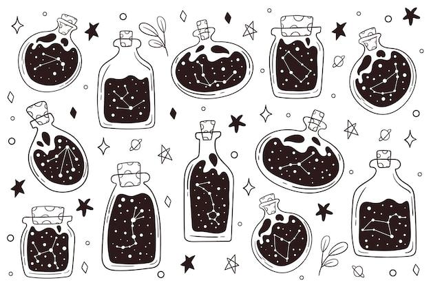 Constelação do zodíaco. áries, touro, gémeos, câncer, leo, virgem, libra, escorpião, peixes