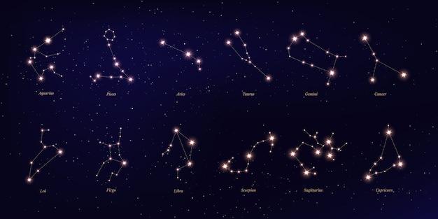 Constelação do zodíaco, símbolos astrológicos em fundo estrelado azul escuro.