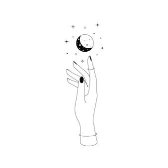 Constelações de lua crescente celestial mística sobre a silhueta de contorno de mão de uma mulher. ilustração