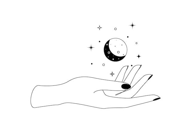 Constelações de lua crescente celestial mística sobre a silhueta de contorno de mão. ilustração em vetor de símbolo de bruxa e magia boho.