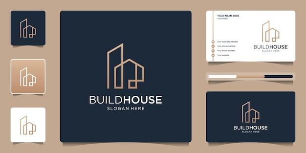 Construa o logotipo da casa com arte de linha simples e elegante. logotipo de imóveis criativos e modelo de cartão de visita.