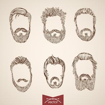 Construa seu próprio bigode macho dândi brutal barba desgrenhada