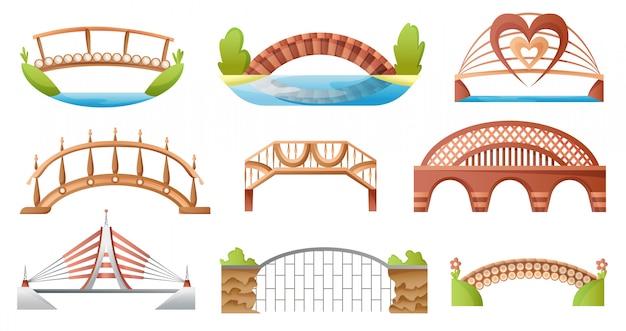 Construa uma ponte sobre a arquitetura urbana do cruzamento. construção de ponte para ilustração de transporte. ponte conjunto rio construção de ponte com faixa de rodagem isolada no branco