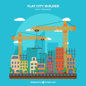 Construção cena de edifícios com guindastes