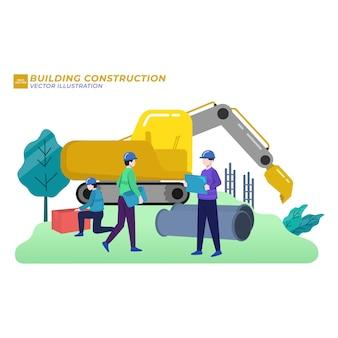 Construção civil ilustração plana construção da cidade