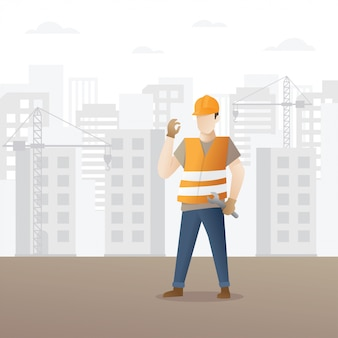 Construção civil, trabalhador, segurando, chave