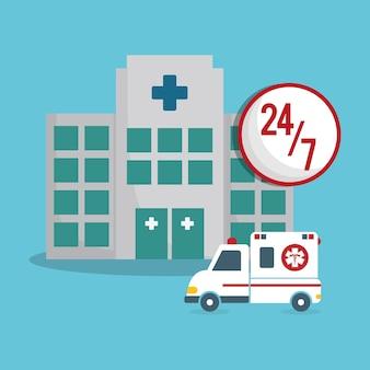 Construção clínica ambulância emergência 24-7
