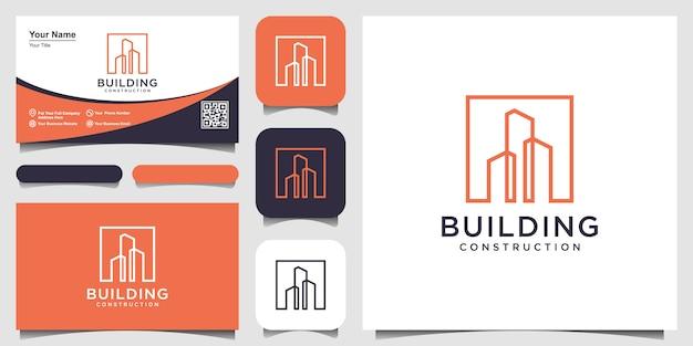 Construção com design de logotipo de estilo de arte de linha e cartão de visita