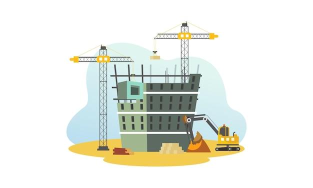 Construção com ilustração de guindaste e escavadeira