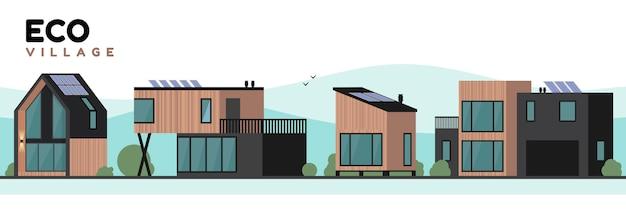 Construção contemporânea da vila ecológica.