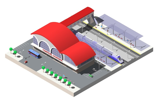 Construção da estação ferroviária, plataformas e trem