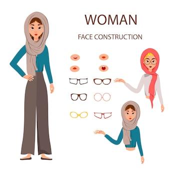 Construção da face da mulher no branco.