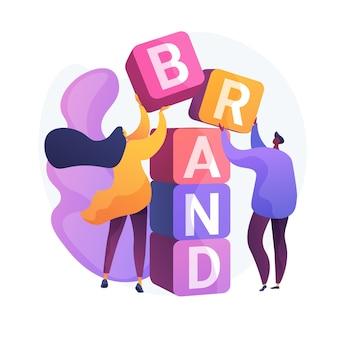 Construção da marca do produto. projeto de identidade corporativa. trabalho em equipe, cooperação e colaboração de personagens planos de designers de estúdio. nome da empresa.