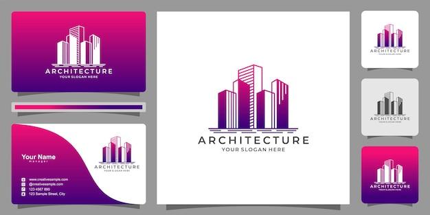 Construção de arquitetura de design de logotipo de marca imobiliária e construção de modelo de logotipo premium vector