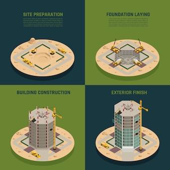 Construção de arranha-céu isométrica
