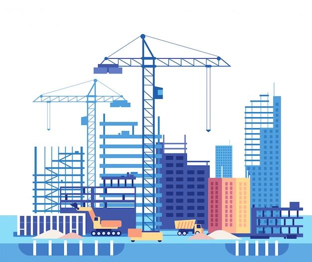 Construção de casa. processo de trabalho de construção de edifícios e máquinas.