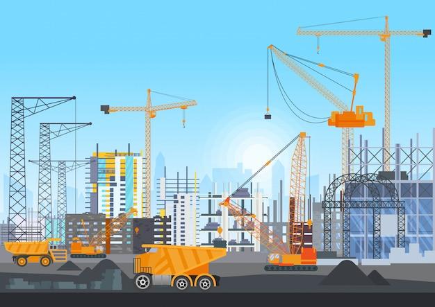 Construção de cidade em construção site com guindastes de torre