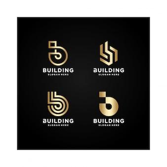 Construção de coleção de logotipo, moderno, conceito, gradiente, imóveis,