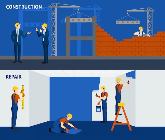 Construção de construção de reparação plana banners horizontais