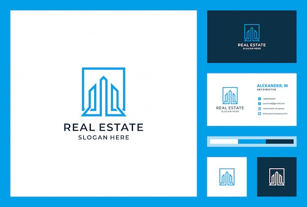 Construção de design de logotipo com cartão. pode ser usado para imóveis, desembarque, propriedade, investimento, apartamento, construção.