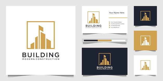 Construção de design de logotipo com conceito moderno. resumo de construção de cidade para inspiração de design de logotipo. design de logotipo e cartão de visita