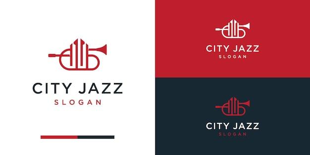 Construção de design de logotipo de trompete para construção musical