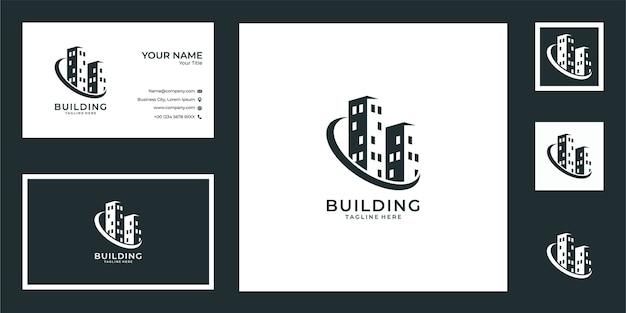 Construção de design de logotipo e cartão de visita