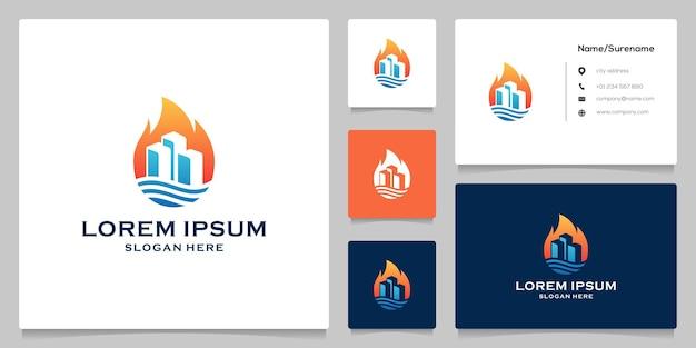 Construção de design de logotipo fluido em chamas com cartão de visita