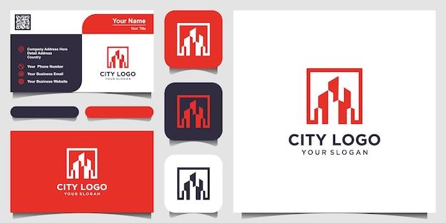 Construção de design de logotipo na linha artística. conjunto de design de logotipo e cartão de visita
