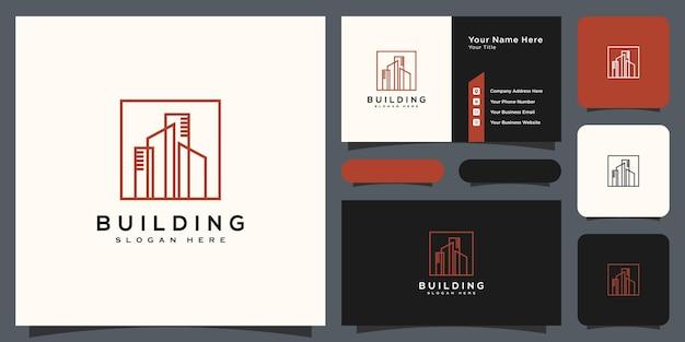 Construção de design de vetor de logotipo de imóveis e cartão de visita