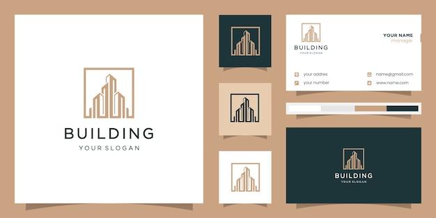 Construção de edifício quadrado. logotipo e cartão de visita.