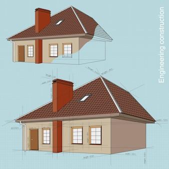 Construção de edifícios de engenharia. desenhos e projeto da casa com as dimensões