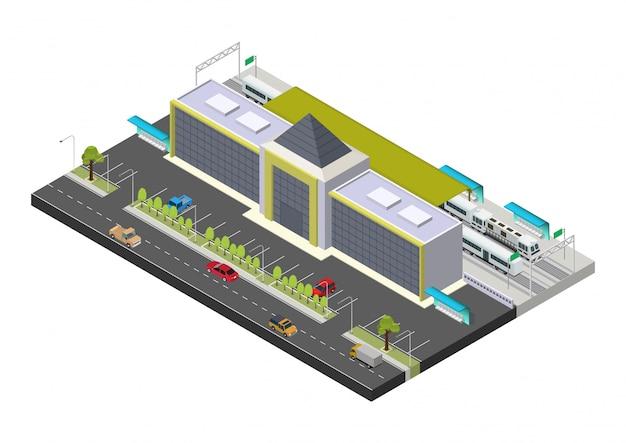 Construção de estação de trem pública isométrica