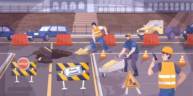 Construção de estradas sinaliza composição plana com trabalhadores fazendo reparos na estrada e há sinais na estrada