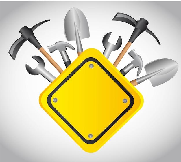 Construção de ferramentas com ilustração em vetor sinal amarelo em branco