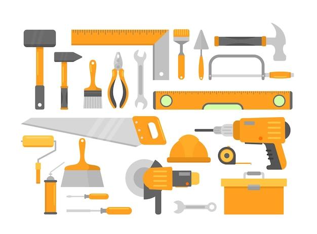 Construção de ferramentas de construção de casa de reparo isoladas. martelo de tijolo, medidor de nível.