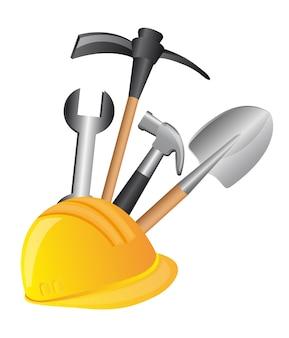 Construção de ferramentas sobre ilustração vetorial de fundo branco