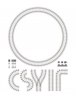 Construção de ferrovia isolada no branco