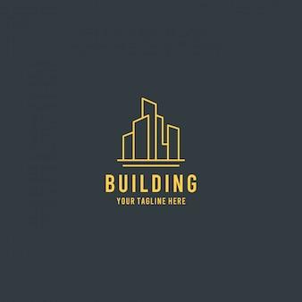 Construção de imóveis premium design de logotipo