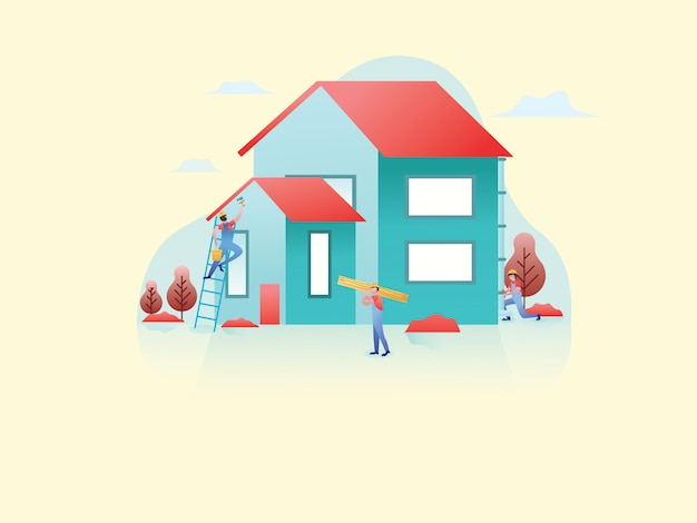 Construção de imóveis web ilustração plana