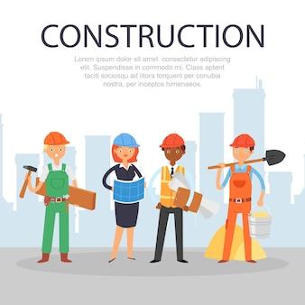Construção de inscrição, informações referenciais, página inicial do site, trabalhadores profissionais, ilustração dos desenhos animados.