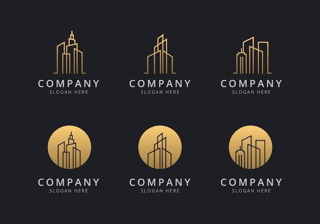 Construção de modelo de logotipo com cor dourada para a empresa
