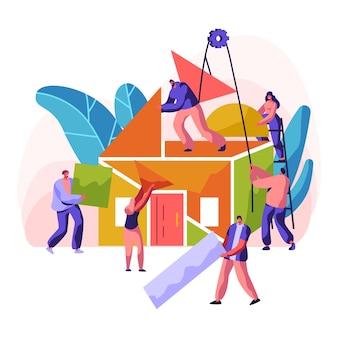 Construção de moradia nova. residência de construção de caráter profissional. pintura de parede, colocação de tijolo e construção de um teto e telhado com detalhes coloridos. ilustração em vetor plana dos desenhos animados