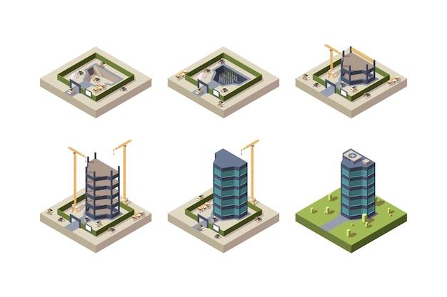 Construção de palco isométrica. imagens técnicas de arquitetura de arranha-céus de edifício moderno