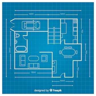 Construção de plano de casa com blueprint